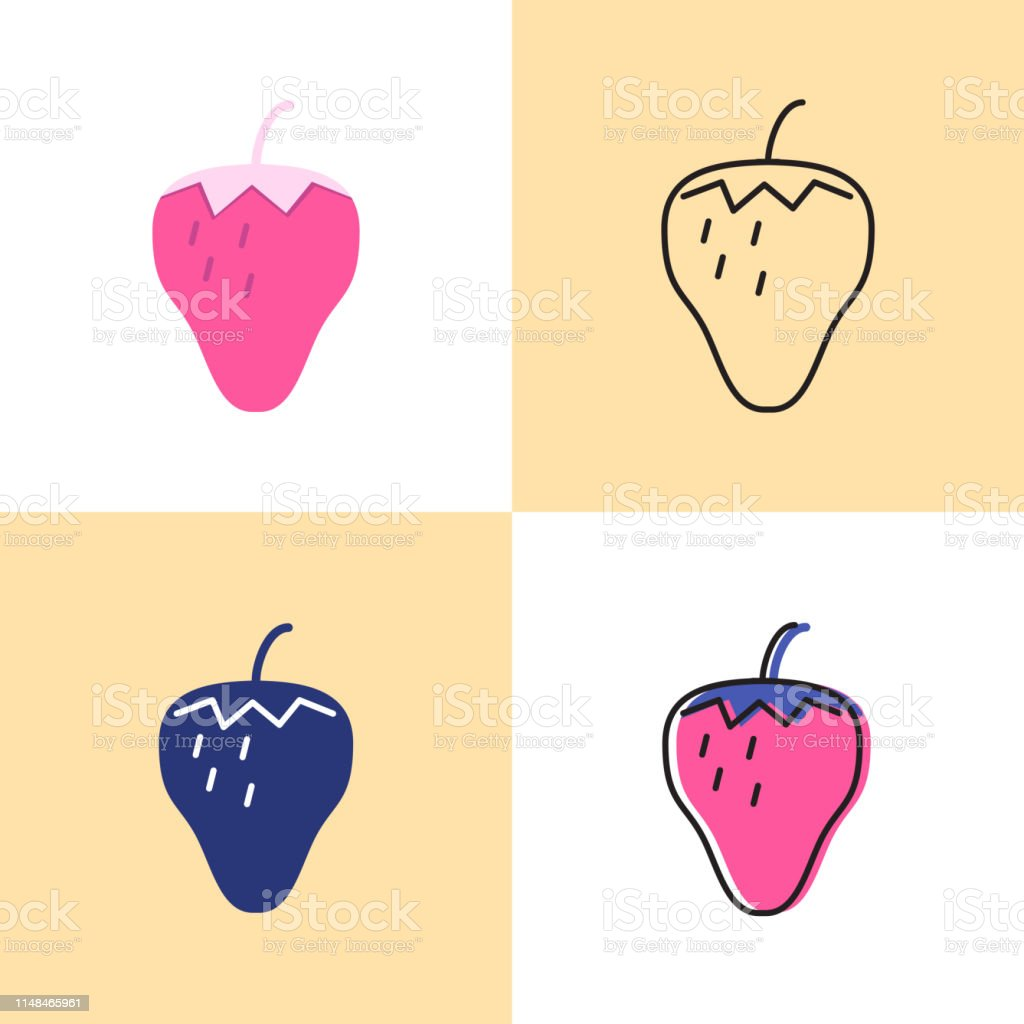 Strawberry Icon Set In Flat And Line Styles Stock
