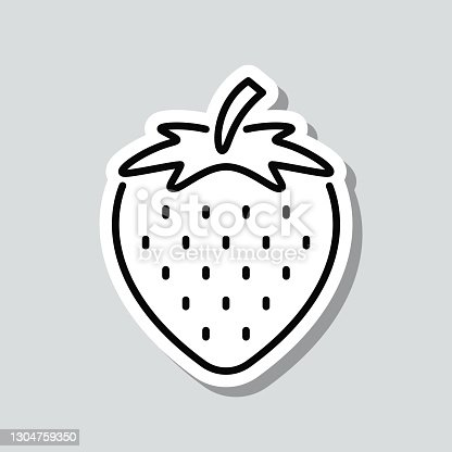 istock Strawberry. Icon sticker on gray background 1304759350