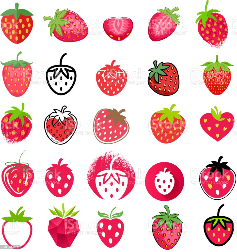 Strawberry icons big set. Different styles vector art illustration