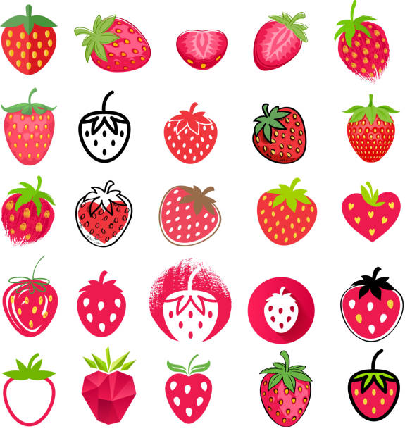 illustrazioni stock, clip art, cartoni animati e icone di tendenza di strawberry icons big set. different styles - fragole