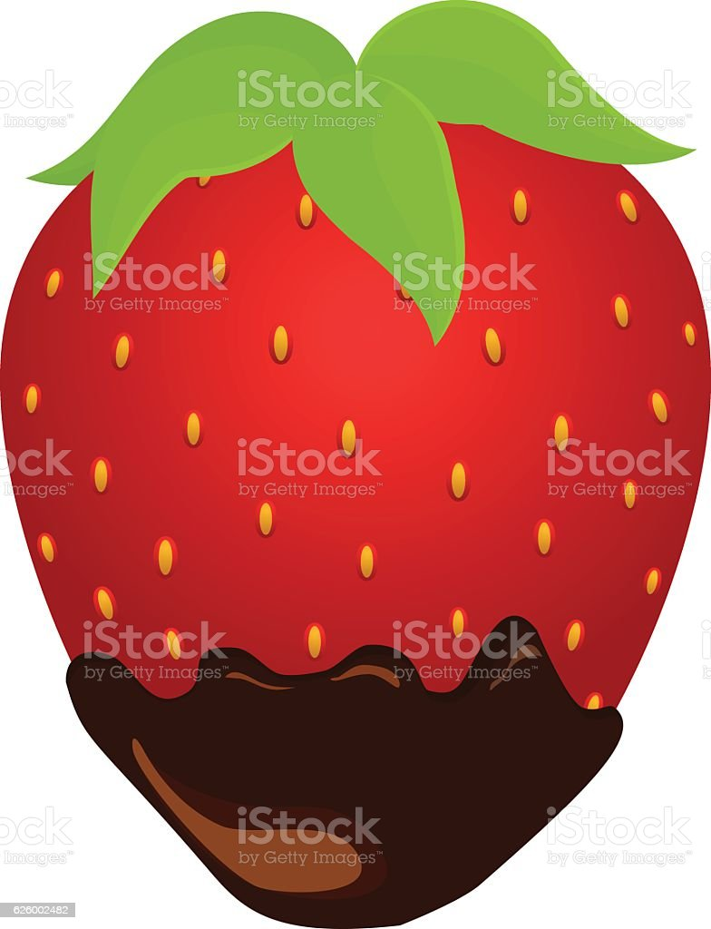strawberry in chocolate vector art illustration