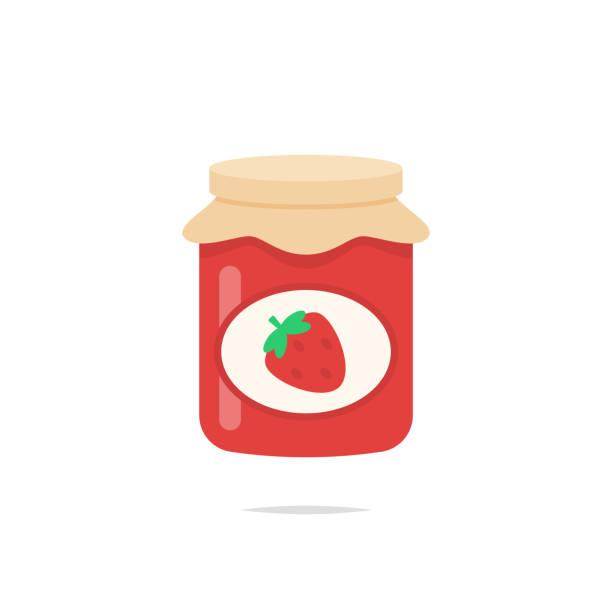 ilustrações de stock, clip art, desenhos animados e ícones de strawberry jam glass jar icon vector - jam jar