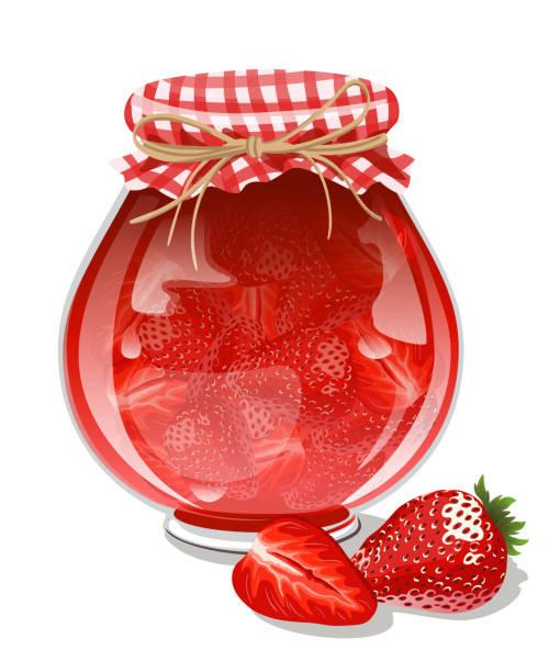 ilustrações de stock, clip art, desenhos animados e ícones de strawberry jam - jam jar