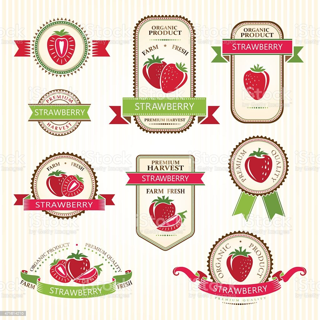 Strawberry labels collection vector art illustration