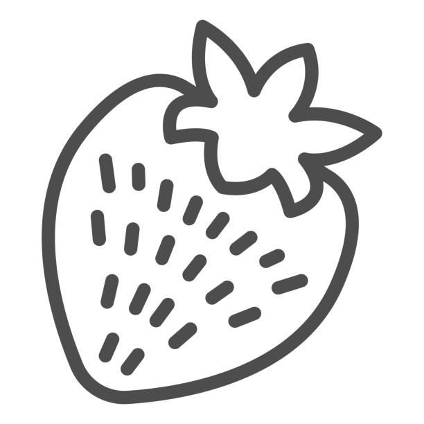 딸기 라인 아이콘, 발렌타인 데이 컨셉, 흰색 배경에 낭만적 인 과일 기호, 모바일 개념과 웹 디자인을위한 윤곽 스타일 건강한 디저트 아이콘. 벡터 그래픽. - 잘 익은 stock illustrations