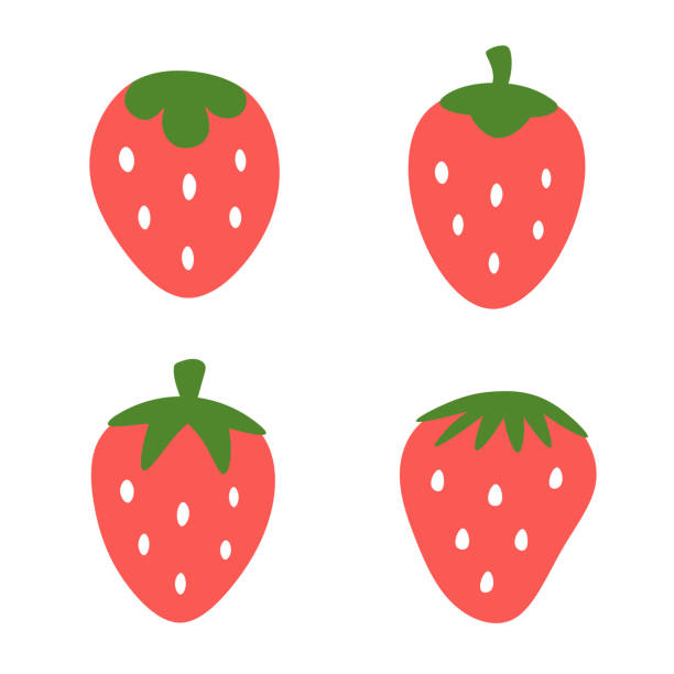 illustrazioni stock, clip art, cartoni animati e icone di tendenza di strawberry logo set - fragole