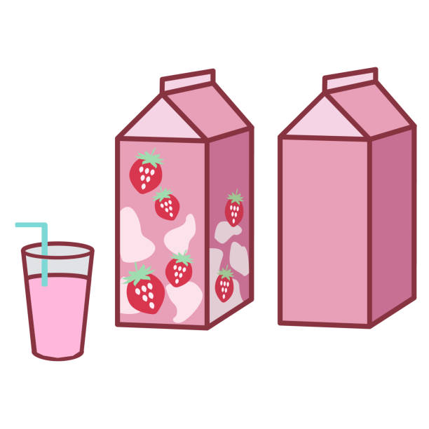 Strawberry milk pack and cup vector art illustration