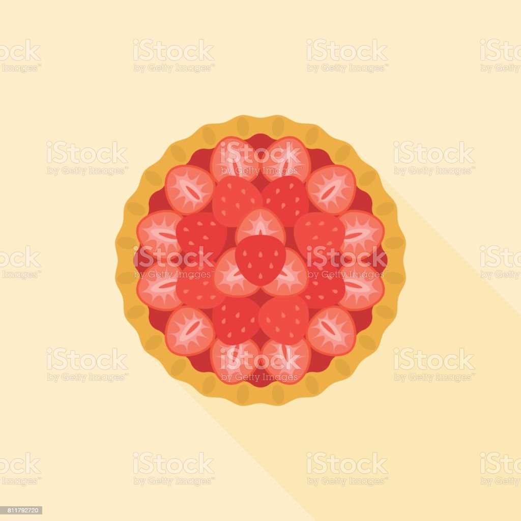 Strawberry pie in aerial view vector art illustration