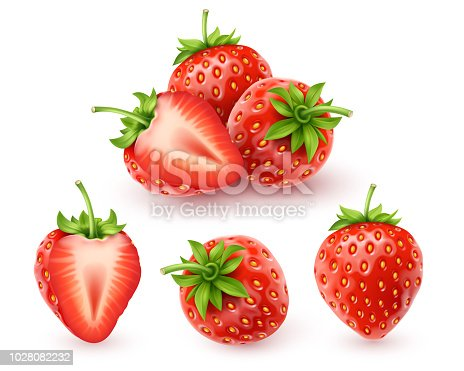 Strawberry realistic icon, vector art and illustration.