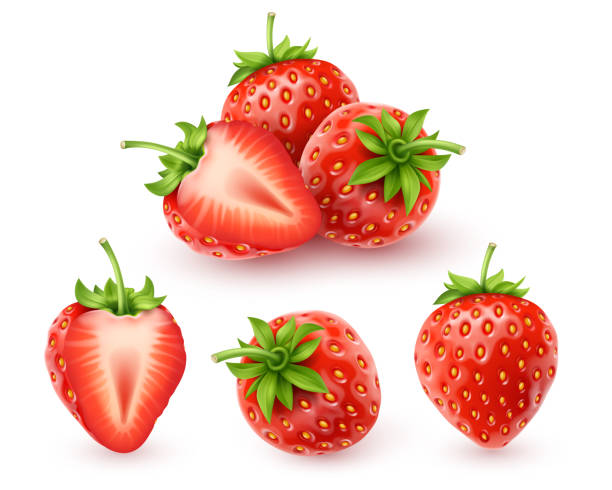illustrazioni stock, clip art, cartoni animati e icone di tendenza di strawberry realistic icon - fragole