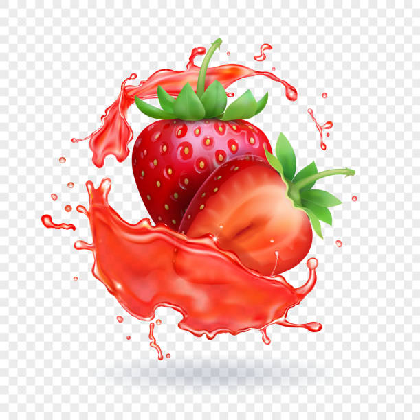 stockillustraties, clipart, cartoons en iconen met aardbei realistische sap vers fruit splash vector pictogram - sapjes
