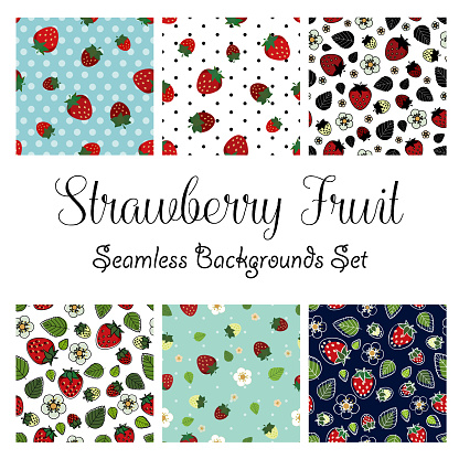 Strawberry red flat design seamless pattern vector illustration six tiles sheet one.