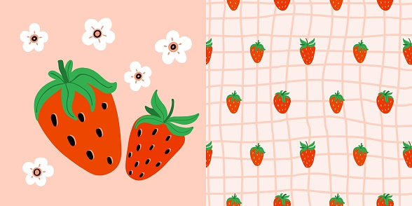 Strawberry seamless pattern and print. Hand drawn berry set. Whole juicy berries, doodle summer element on pink cage background. Decor textile, wrapping paper wallpaper vector t-shirt or fabric