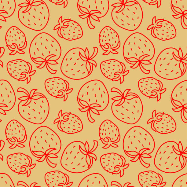 illustrazioni stock, clip art, cartoni animati e icone di tendenza di strawberry seamless pattern. hand drawn fresh fruit. vector sketch background. color doodle wallpaper. berry print - fragole