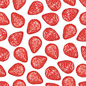Strawberry Seamless Pattern Realistic Whole Berries, Top View on White Background.