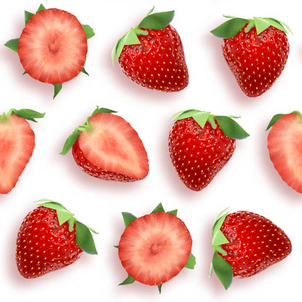 illustrazioni stock, clip art, cartoni animati e icone di tendenza di strawberry seamless pattern slices and whole berries, top view on white background. vector stock illustration - fragole