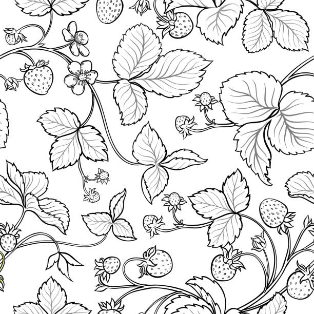 illustrazioni stock, clip art, cartoni animati e icone di tendenza di strawberry seamless pattern - fragole