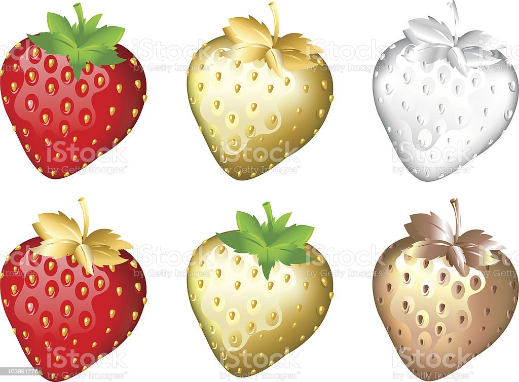 Strawberry Set, Isolated On White royalty-free strawberry set isolated on white stock vector art & more images of berry fruit