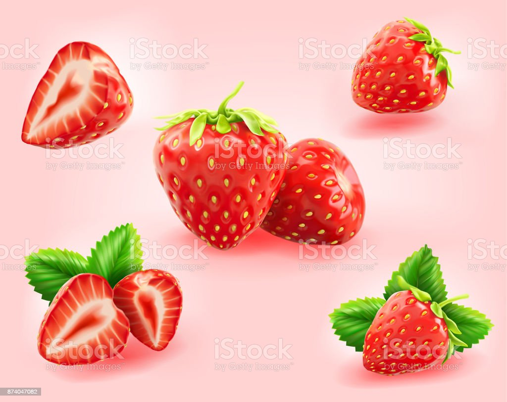 strawberry slice,half,leaf isolated on light pink background vector art illustration