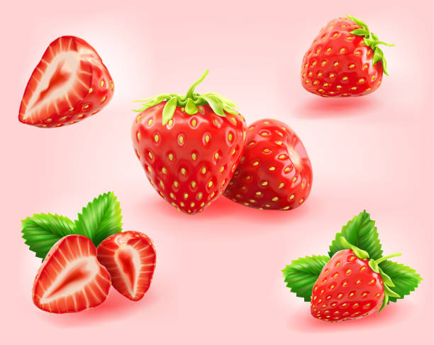 illustrazioni stock, clip art, cartoni animati e icone di tendenza di strawberry slice,half,leaf isolated on light pink background - fragole