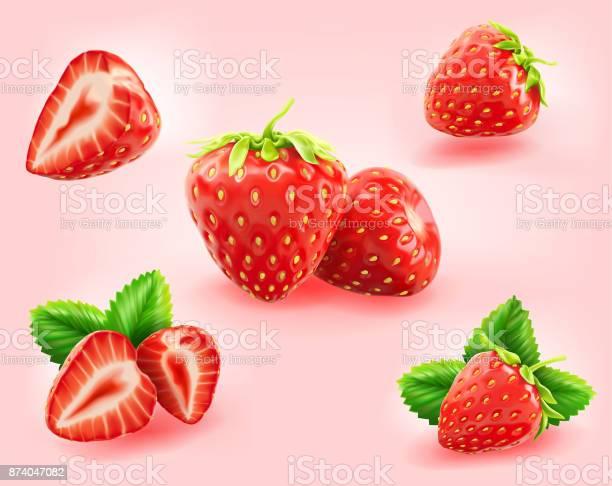 Strawberry Slicehalfleaf Isolated On Light Pink Background - Immagini vettoriali stock e altre immagini di Agricoltura