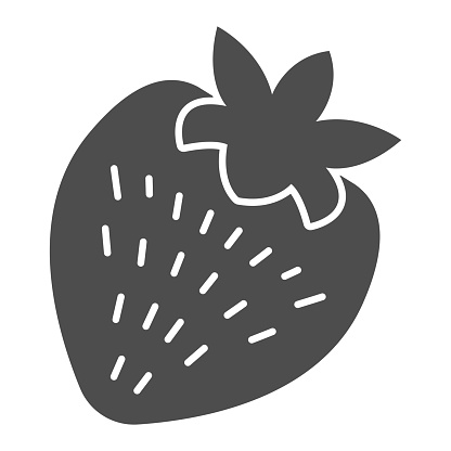 Strawberry solid icon, valentine day concept, romantic fruit sign on white background, healthy dessert icon in glyph style for mobile concept and web design. Vector graphics.