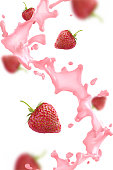 Strawberry splash with berries. Vector realistic illustration on white background.