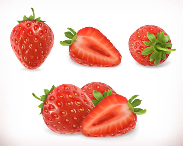 illustrazioni stock, clip art, cartoni animati e icone di tendenza di strawberry. sweet fruit. - fragole