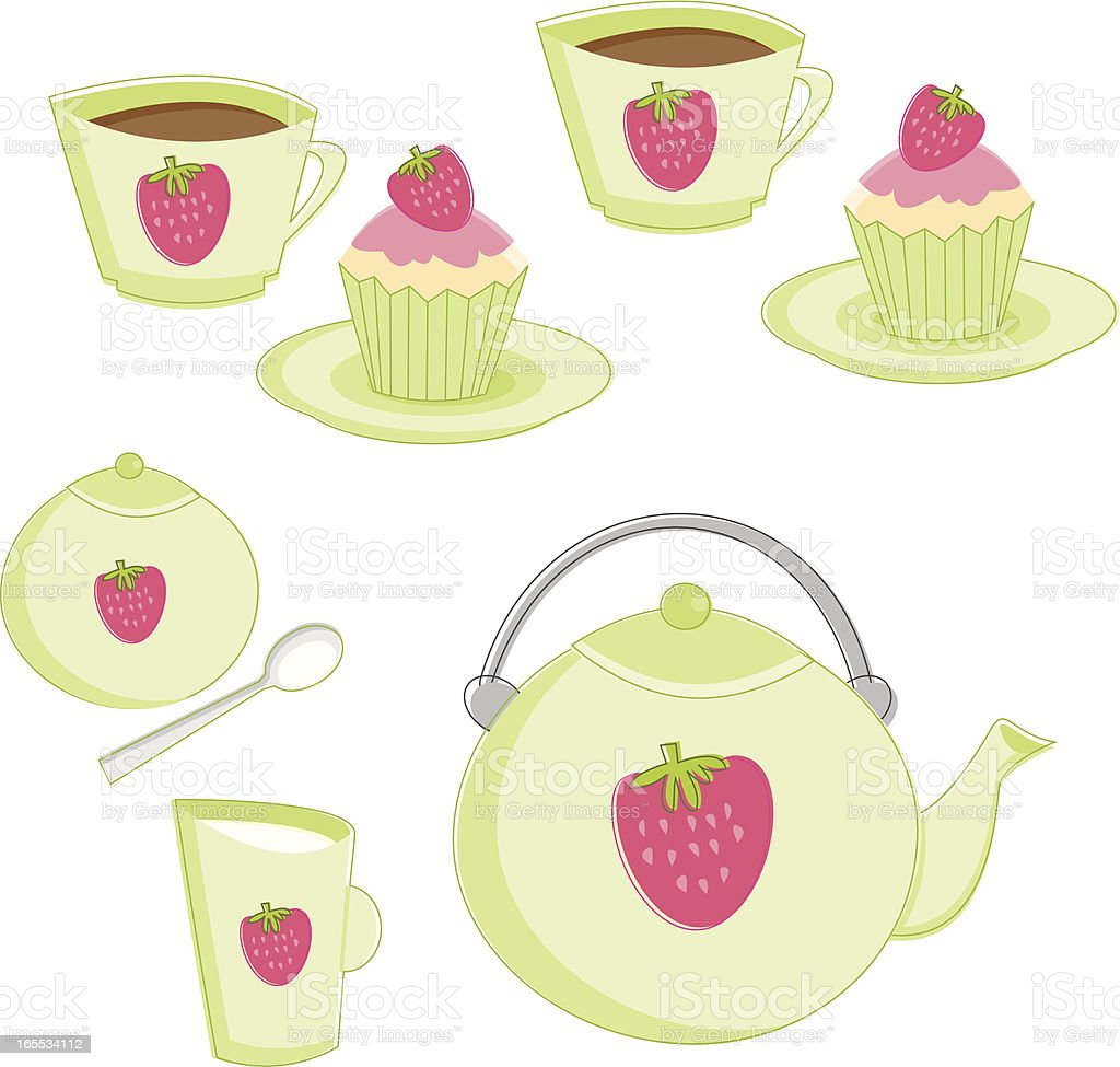 Strawberry Tea Party royalty-free strawberry tea party stock vector art & more images of afternoon tea