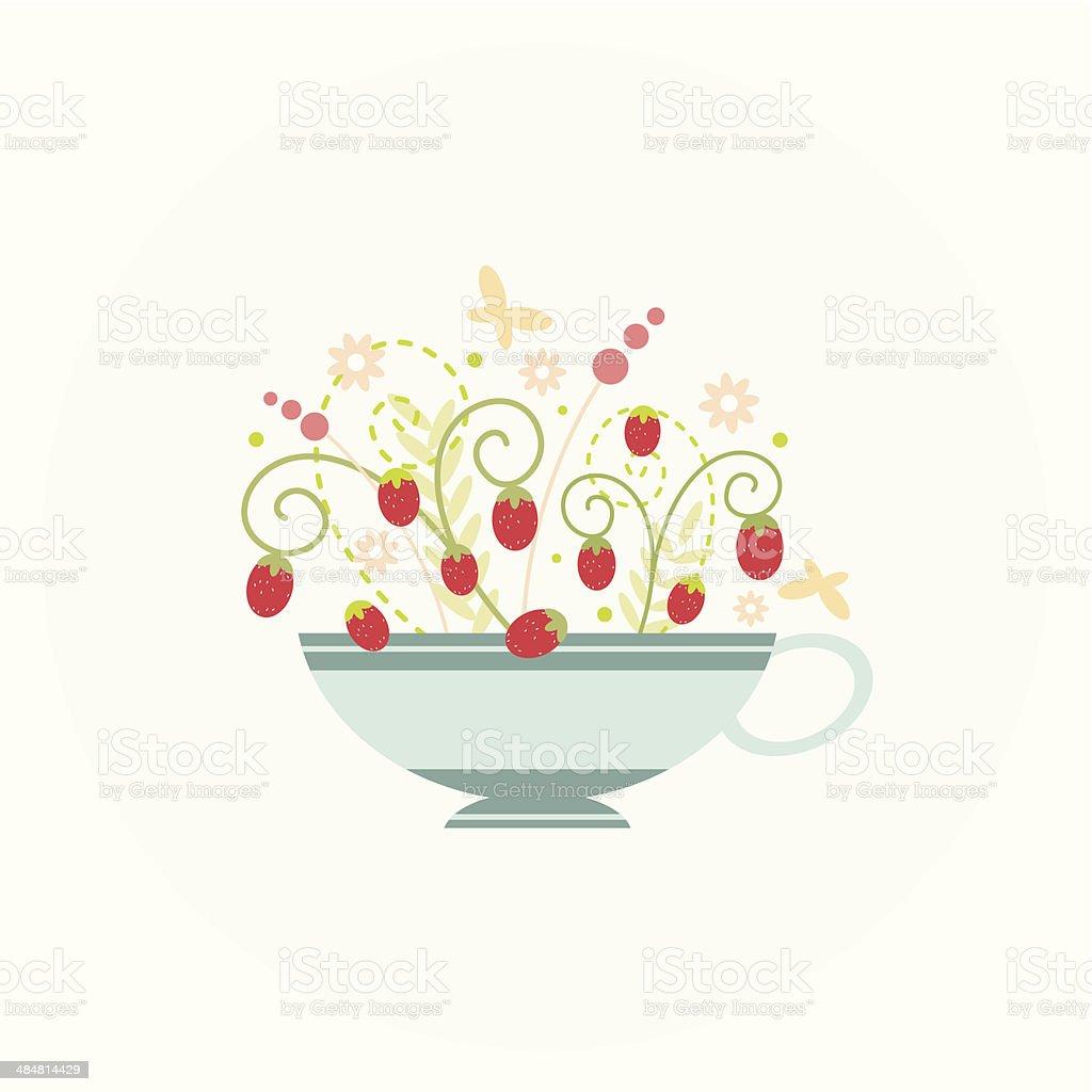 Strawberry Tea vector art illustration