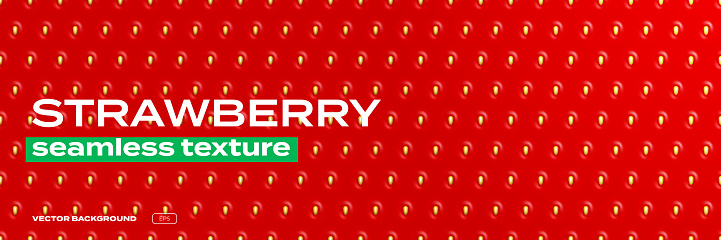 Strawberry texture pattern, background seamless realistic vector. Strawberry berry texture, red glossy background with seeds, shiny gradient pattern