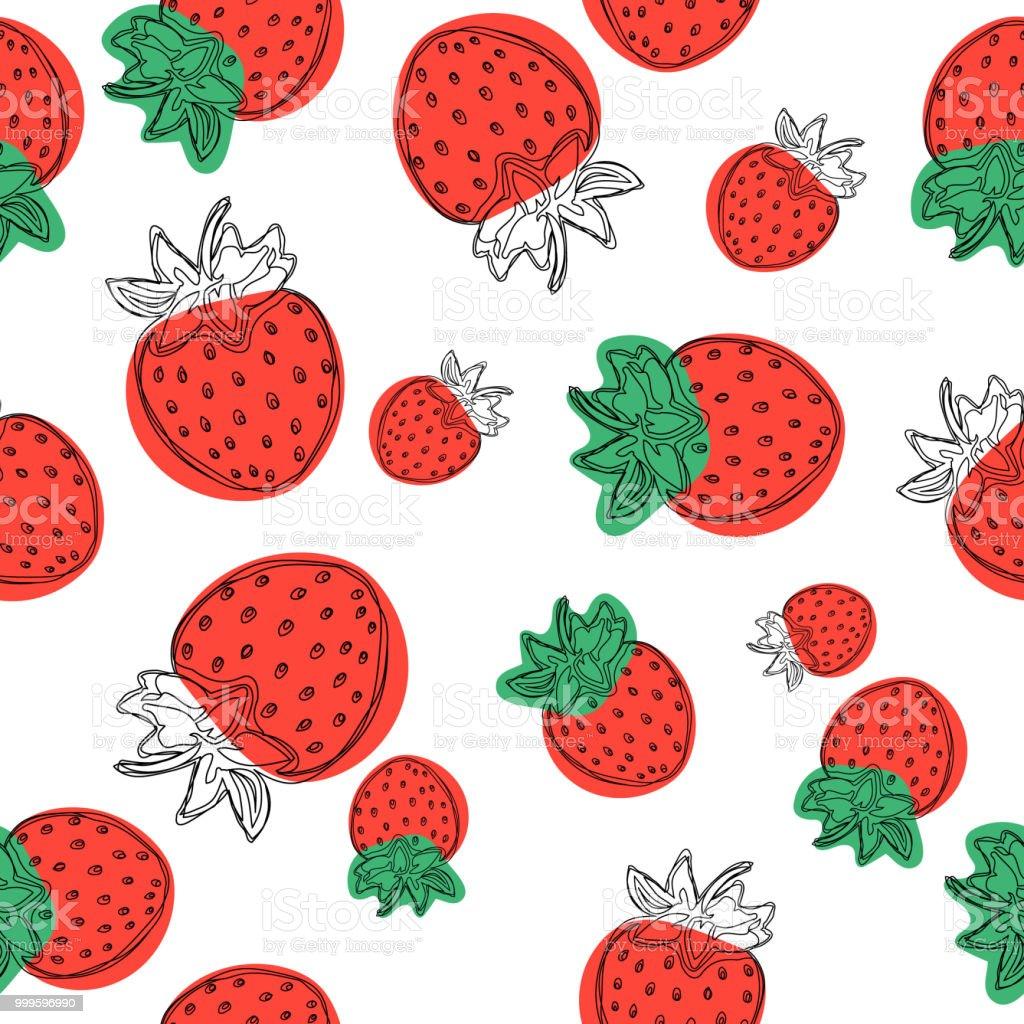 イチゴは壁紙のパターン白い背景の上の果物イラストを良いベクトルし