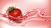 Strawberry with juice splash, realistic vector illustration. Ripe sweet red berry with green leaf and seeds in flowing liquid with ice cubes and air bubbles, soda drink package design