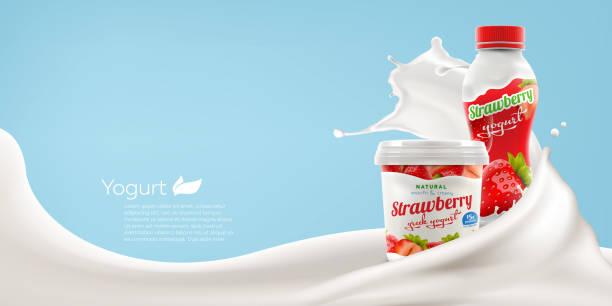 딸기 요구르트 광고 브랜드 항아리와 밝은 배경에 병 우유 스플래시 상업 제품 모의-업 벡터 현실적인 그림 - 유가공 식품 stock illustrations