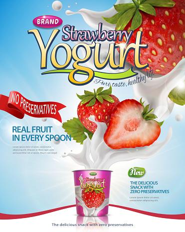 딸기 요구르트 포스터 0명에 대한 스톡 벡터 아트 및 기타 이미지