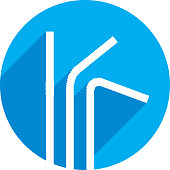 Vector illustration of straws against a blue background in flat style.