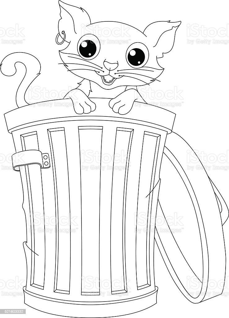 Ilustración de Gato Callejeros Página Para Colorear y más banco de ...