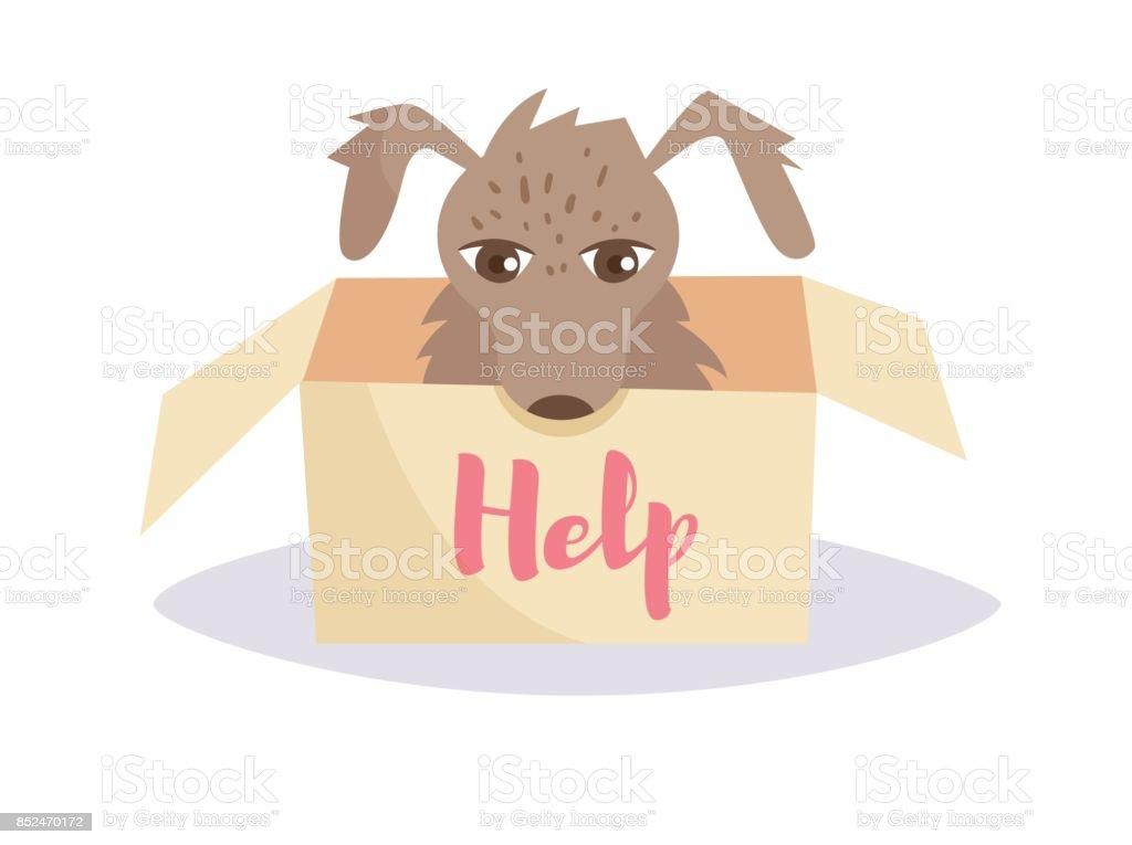 Stray dog in a box. Vector. Cartoon. Isolated vector art illustration