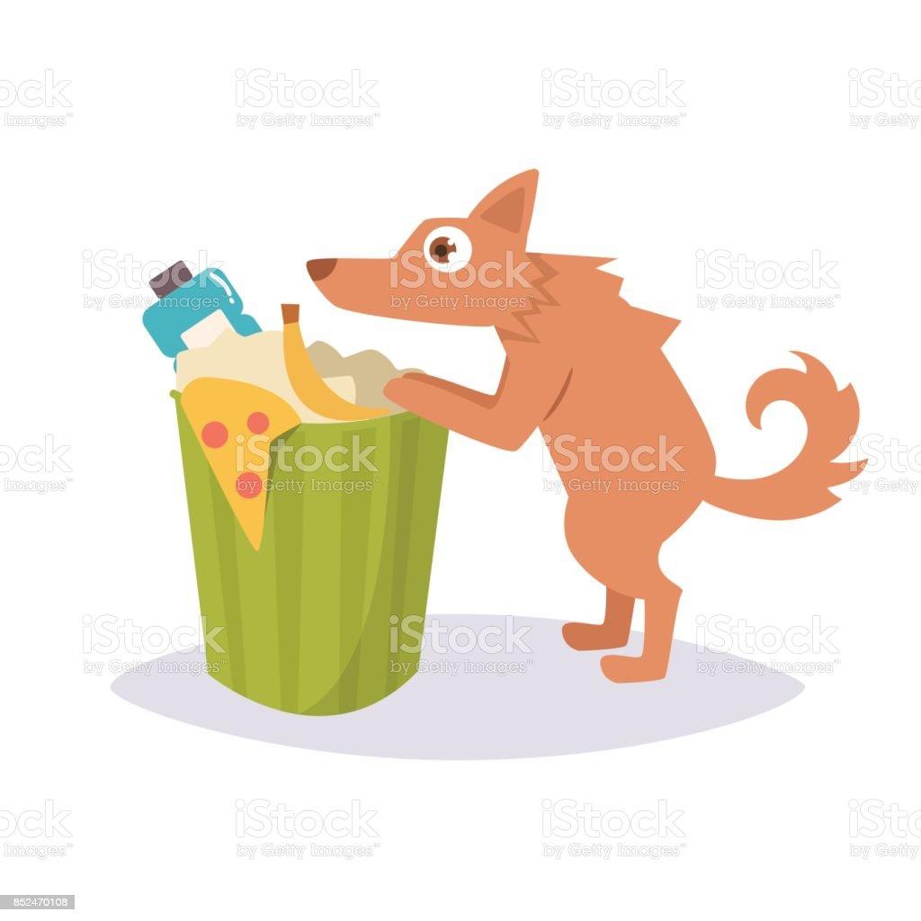 Stray dog rummaging in a trash can vector art illustration