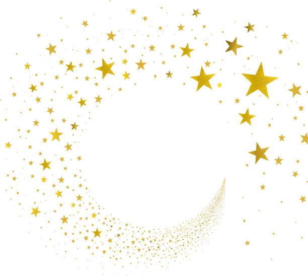 illustrations, cliparts, dessins animés et icônes de ruisseau étoiles dorées - forme étoilée