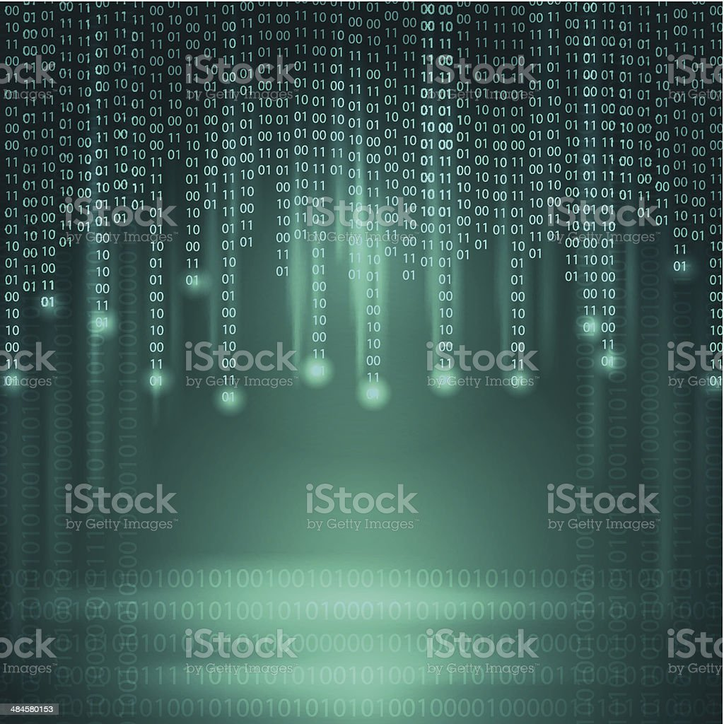 Stream of binary code. Background. vector art illustration