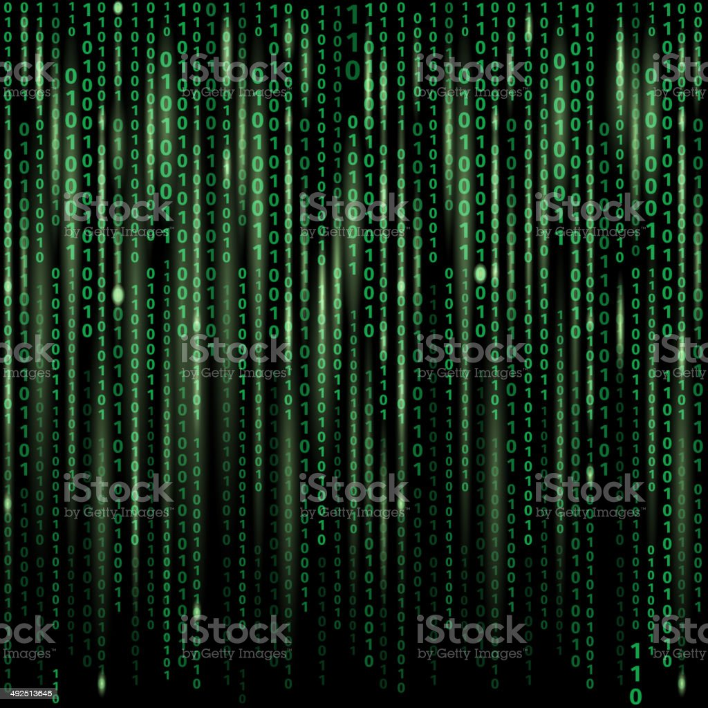 Stream of binary code on screen. Abstract vector background vector art illustration