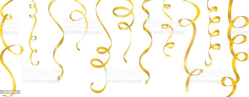 streamers gold set vector art illustration