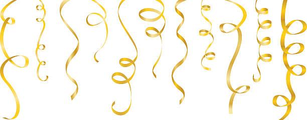 ilustrações de stock, clip art, desenhos animados e ícones de streamers conjunto de ouro - serpentina