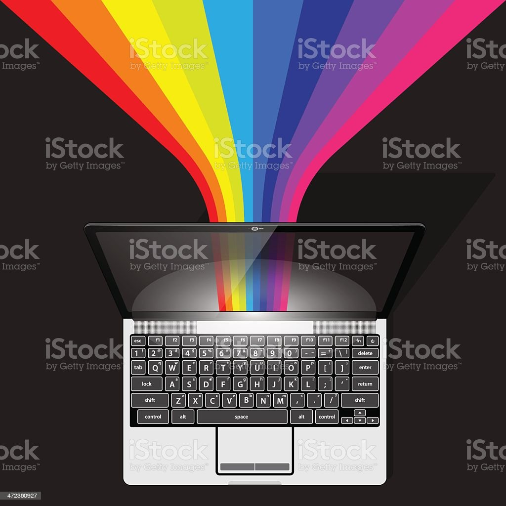 Streaming Data Rainbow from Laptop Computer royalty-free streaming data rainbow from laptop computer stock vector art & more images of angle