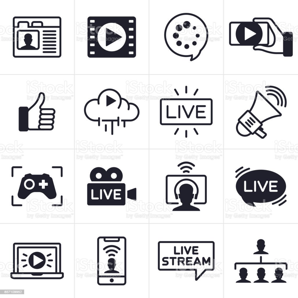 Streaming Icons and Symbols vector art illustration