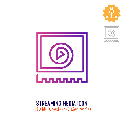 Streaming Media Continuous Line Editable Icon