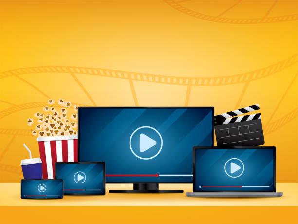 streaming-film-illustration-vektor. - tablet mit displayinhalt stock-grafiken, -clipart, -cartoons und -symbole