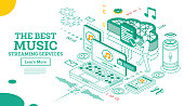 Streaming Music Services. Isometric Concept. Vector Illustration. Online Broadcast Service System. Entertainment Media in Smartphone. Listening Music without Downloads.
