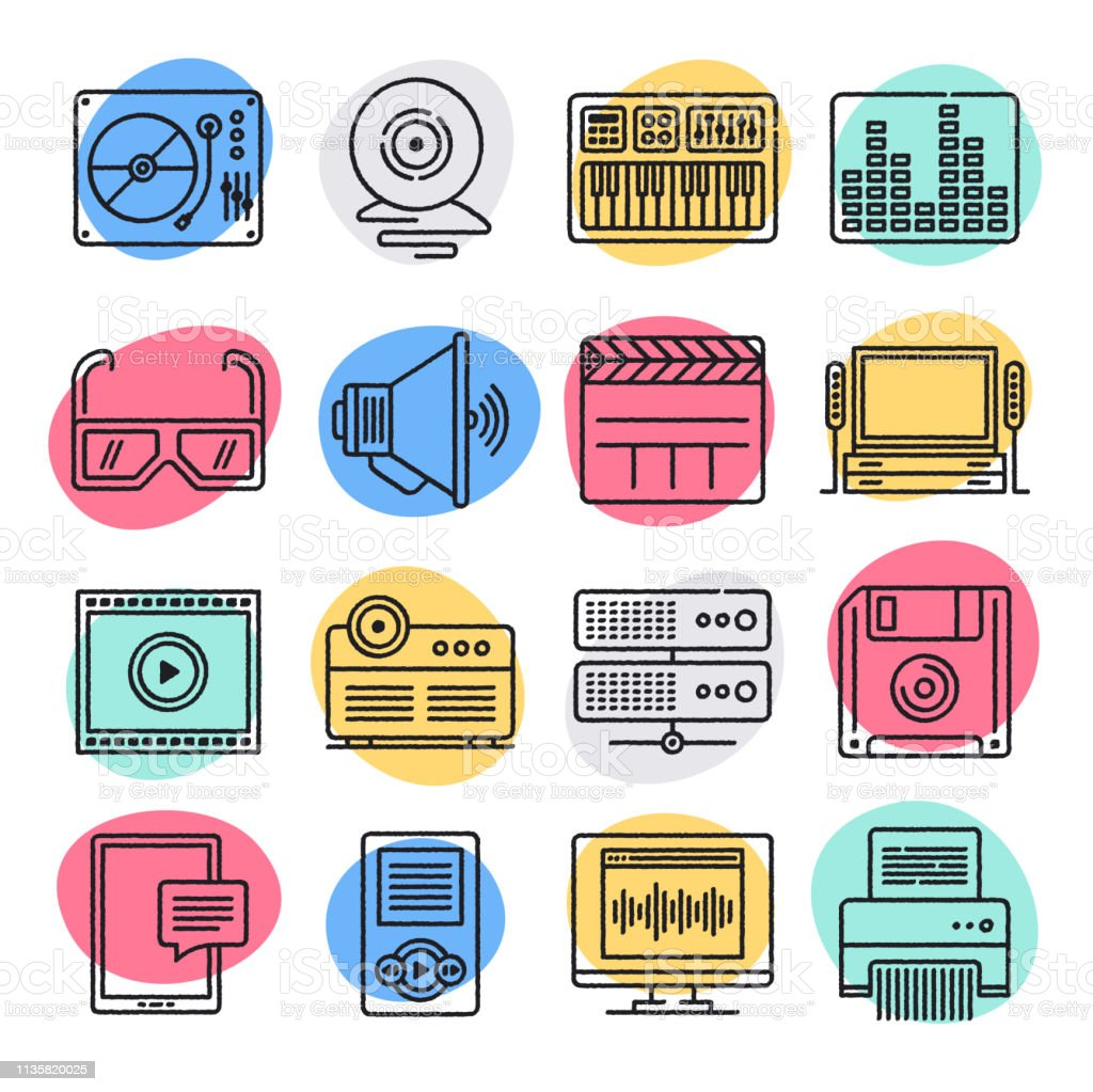 Streaming Music Video Game Doodle Style Vector Icon Set
